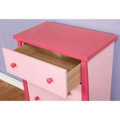 Marlee Pink Transitional Style Nightstand