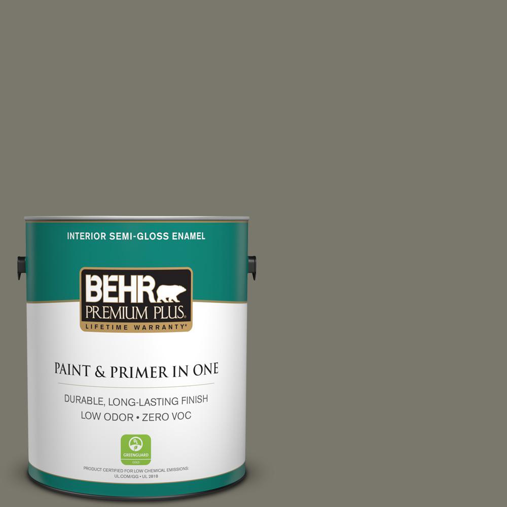 1-gal. #ECC-46-2 Eagle Ridge Zero VOC Semi-Gloss Enamel Interior Paint