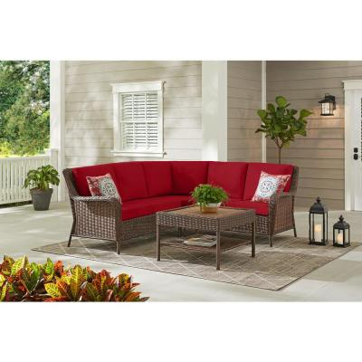 Cambridge 4-Piece Brown Wicker Outdoor Patio Sectional Sofa and Table with CushionGuard Chili Red Cushions