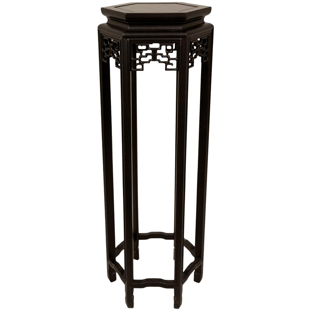 Oriental Furniture 12 in. Rosewood Hexagon Plant Stand in Black