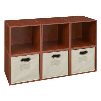 Cubo 26 in. H x 39 in. W Cherry/Natural 6-Cube and 3-Bin Organizer