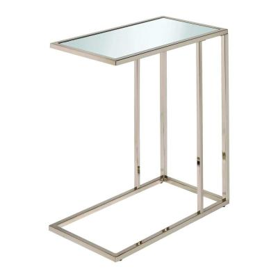Stylish Clear Glass Top Snack Table with Chrome Legs