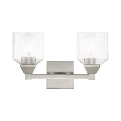 Aragon 4.75 in. 2-Light Brushed Nickel Vanity Light with Clear Seeded Glass