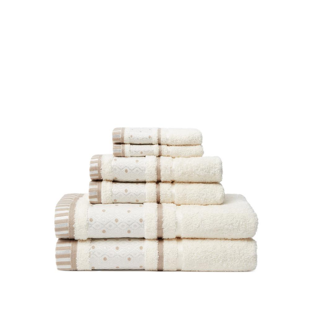 Balio 6-Piece 100% Turkish Cotton Bath Towel Set in Creme