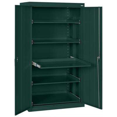 66 in. H x 36 in. W x 24 in. D Shelf Heavy Duty Storage Cabinets with Steel Pull-Out Tray in Green