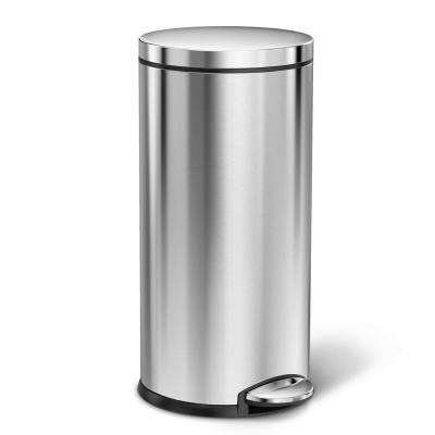 35 liter Fingerprint-Proof Brushed Stainless Steel Round Step-On Trash Can