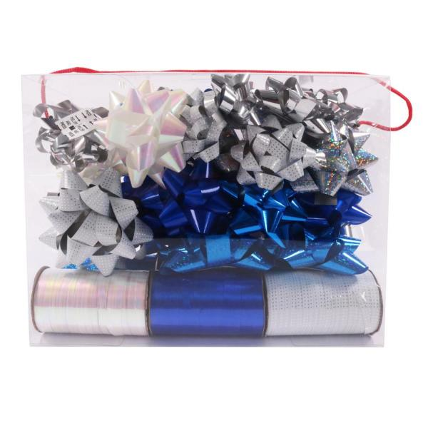 Santaland 36 Piece Silver And Red Ribbon And Bow Wrapping Set 81122sr The Home Depot
