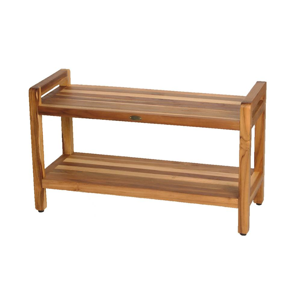 EarthyTeak Classic 35 in. Shower Bench with Shelf And LiftAide Arms