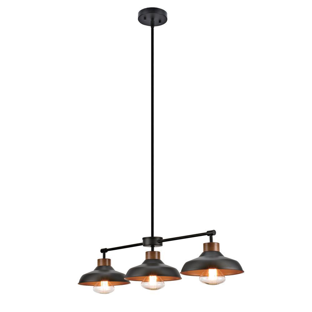 3-Light Dark Bronze  and Wood Accents Contemporary Barnyard Pendant