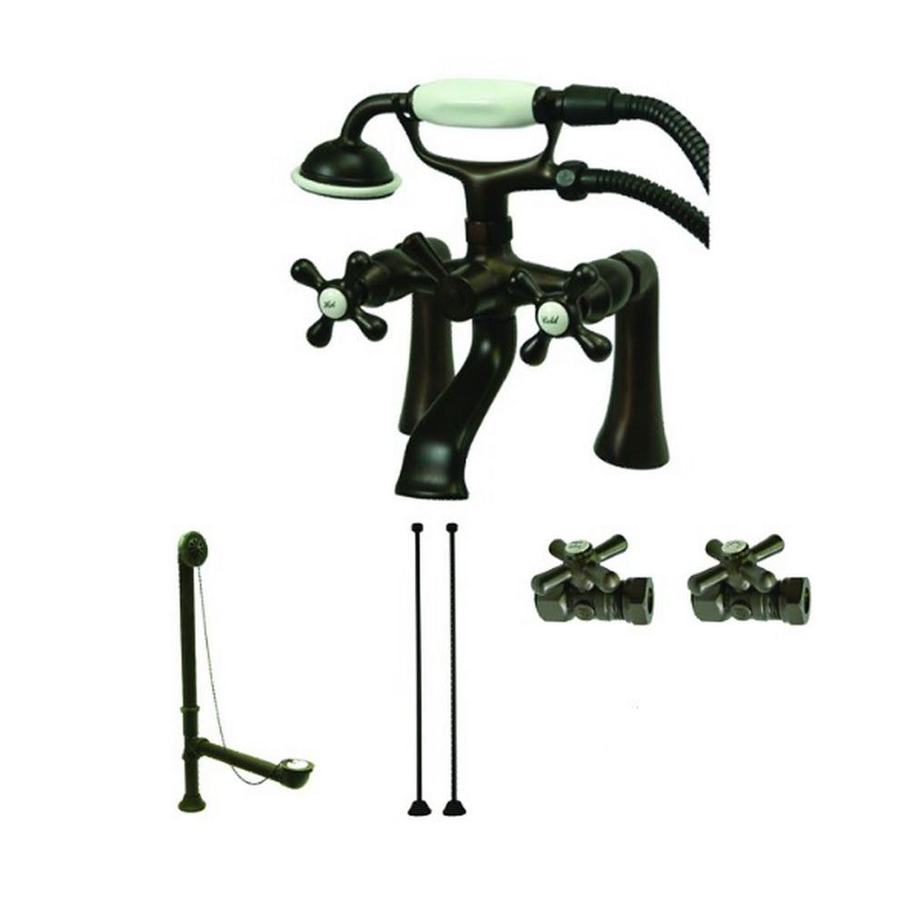 Aqua Eden 3-Handle Deck-Mount Claw Foot Tub Faucet with Handshower ...