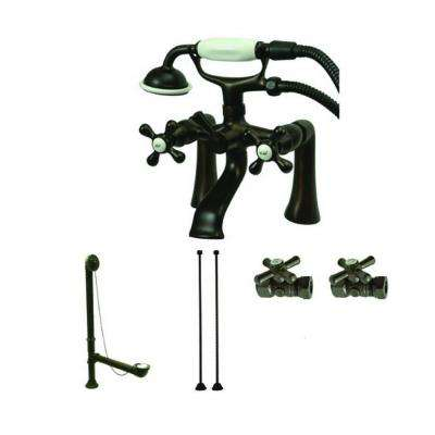3-Handle Deck-Mount Claw Foot Tub Faucet with Hand Shower Combo Set in Oil Rubbed Bronze