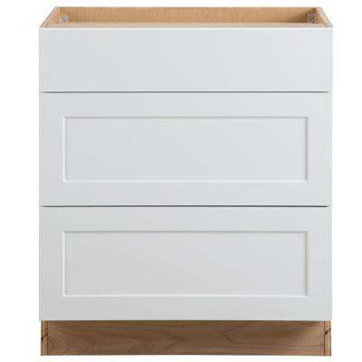 Cambridge Assembled 30x35x24.5 in. Base Cabinet with 3-Soft Close Drawers in White