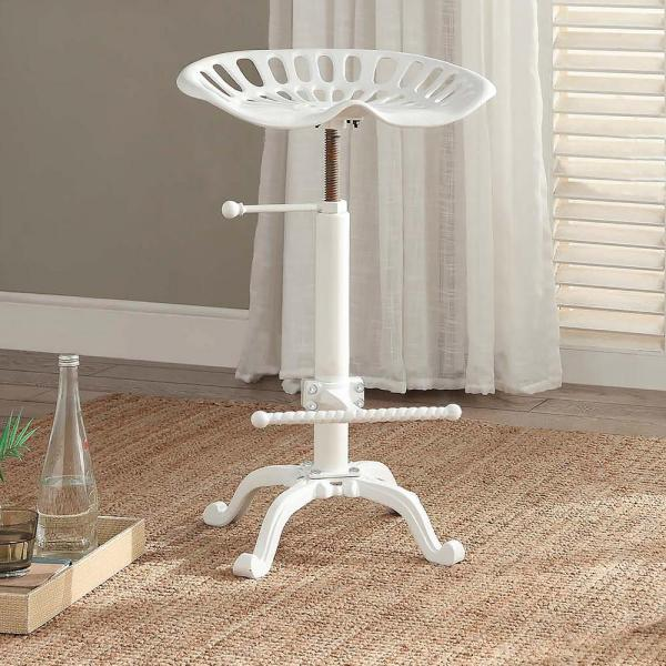 Carolina Cottage Tractor Seat Adjustable Height White Bar Stool 3200WHT