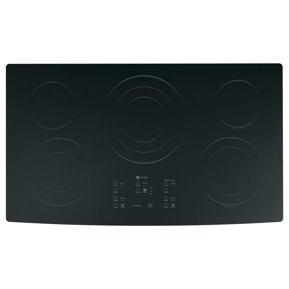 GE Profile CleanDesign 36 in. Smooth Surface Radiant Electric Cooktop in Black with 5 Elements