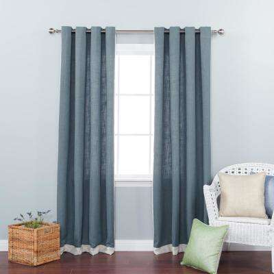 84 in. L Aqua Bottom Bordered Textured Faux Linen Curtain (2-Pack)