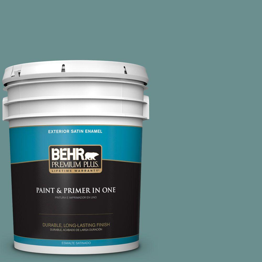 BEHR Premium Plus 5-gal. #500F-6 Hallowed Hush Satin Enamel Exterior Paint