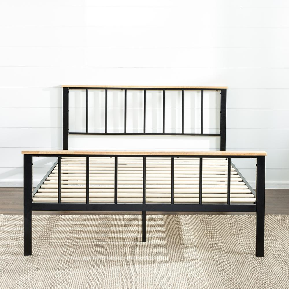 Contemporary Metal and Wood Black Queen Platform Bed Frame