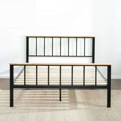 Brianne Metal and Wood Platform Bed Frame, Queen
