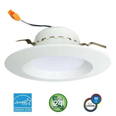 4 in. 75-Watt Equivalent 13-Watt, Matte White Dimmable Recessed Integrated LED Downlight Trim