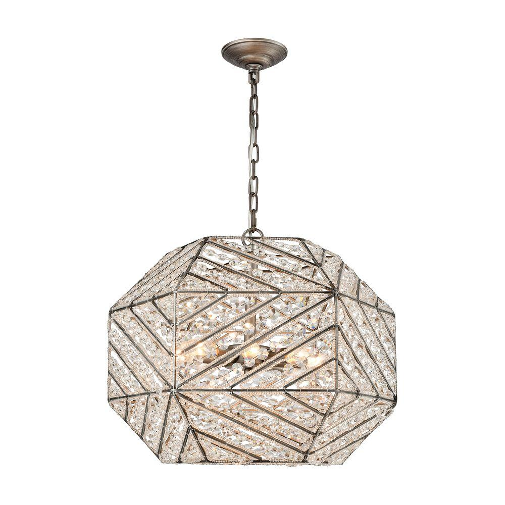 Constructs 8-Light Weathered Zinc Chandelier With Metal And Crystal Shade