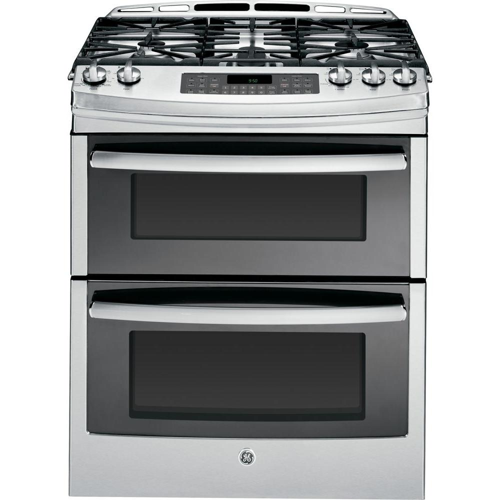 GE Profile 6.7 cu. ft. Slide-In Double Oven Gas Range with Self-Cleaning Convection Oven in Stainless Steel