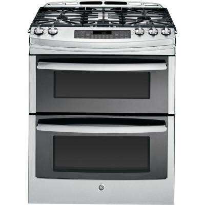 6.7 cu. ft. Slide-In Double Oven Gas Range with Self-Cleaning Convection Oven in Stainless Steel