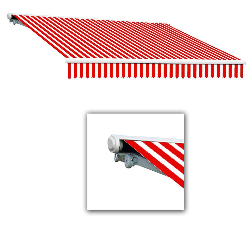 AWNTECH 12 ft. Galveston Semi-Cassette Left Motor with Remote Retractable Awning (96 in. Projection) in Red/White