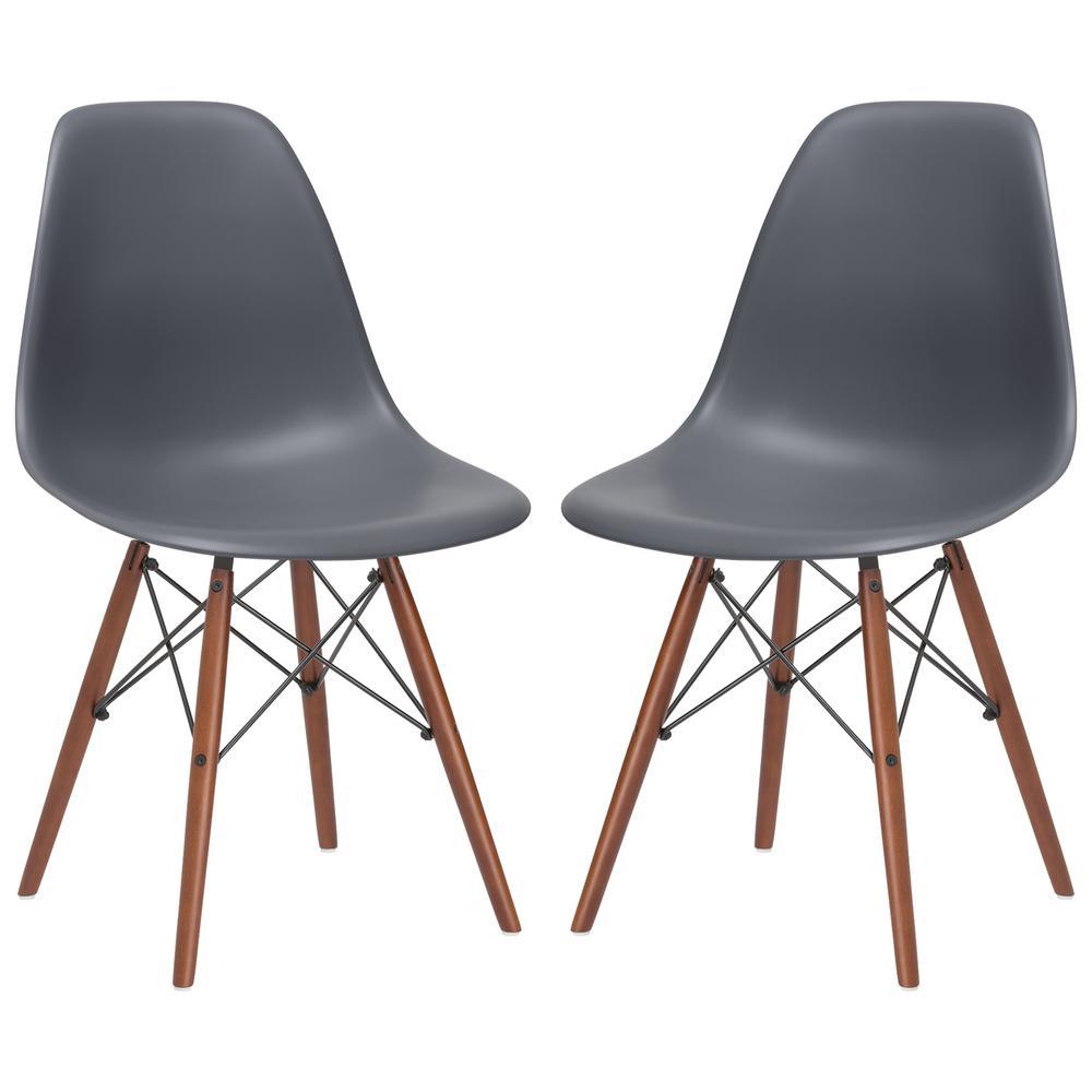Vortex Grey Side Chair Walnut Legs (Set of 2)