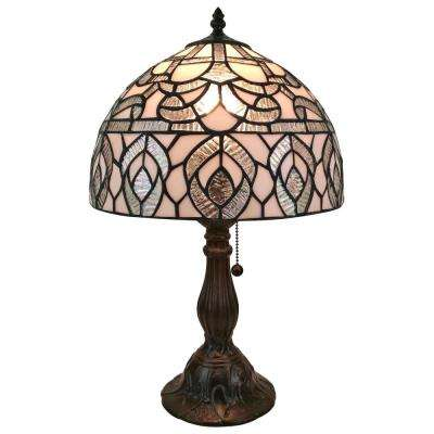 19 in. Multicolored Tiffany Style Peacock Design Table Lamp