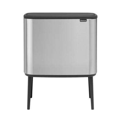 9 Gal. Dual Compartment Matte Steel Fingerprint Proof Rectangular Touch Trash Can