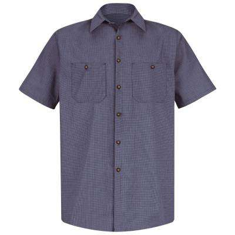 Men's Size L (Tall) Blue / Charcoal Check Micro-Check Uniform Shirt