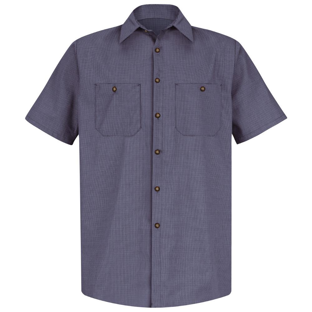 7336c7fd92 Red Kap Men s Size M Blue   Charcoal Check Micro-Check Uniform Shirt ...
