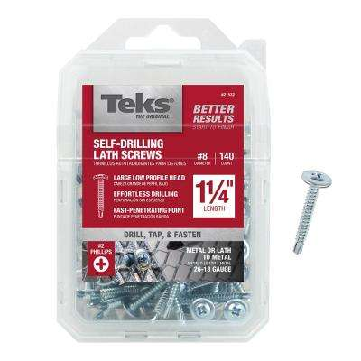#8 x 1-1/4 in. Zinc Plated Steel Truss Head Phillips Drill Point Lath Screws (140-Pack)