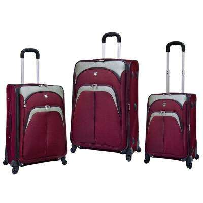 3-Piece Burgundy Expandable Vertical Luggage Set with Spinner Wheels and EVA-reinforced Polyester Construction