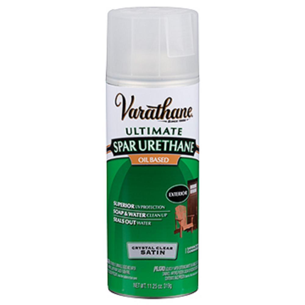 varathane 11 oz clear satin oil based spar urethane spray. Black Bedroom Furniture Sets. Home Design Ideas