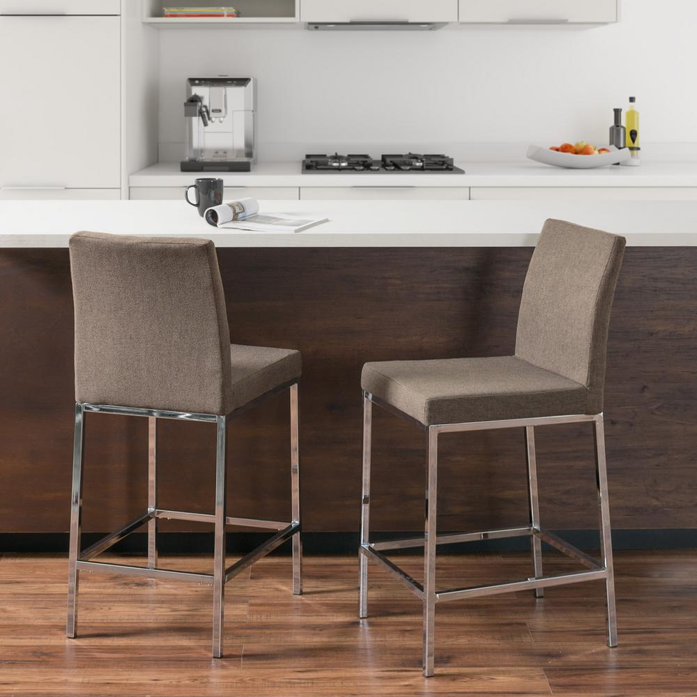 Huntington 25 in. Brown Fabric Cushioned Bar Stool (Set of 2)