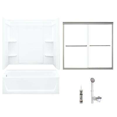Ensemble 32 in. x 60 in. x 75 in. Bath and Shower Kit with Left-Hand Drain in White and Brushed Nickel