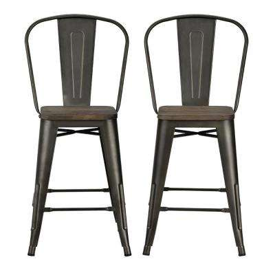 Lena 24 in. Antique Copper, Metal Counter Stool with Wood Seat (Set of 2)