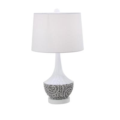 31 in. White Polystone Botanical Design Vase-Shaped Table Lamp with White Shade