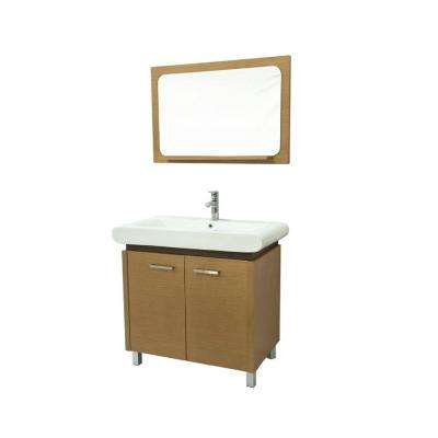36 in. W x 19 in. D Vanity in Tan with Ceramic Vanity Top in White with White Basin and Mirror