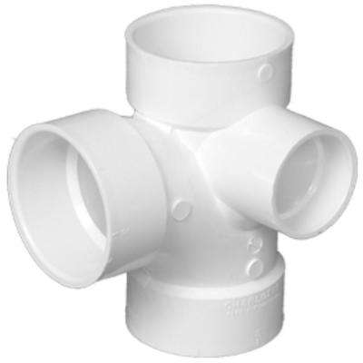 3 in. x 3 in. x 3 in. x 2 in. DWV PVC Sanitary Tee with Right Inlet