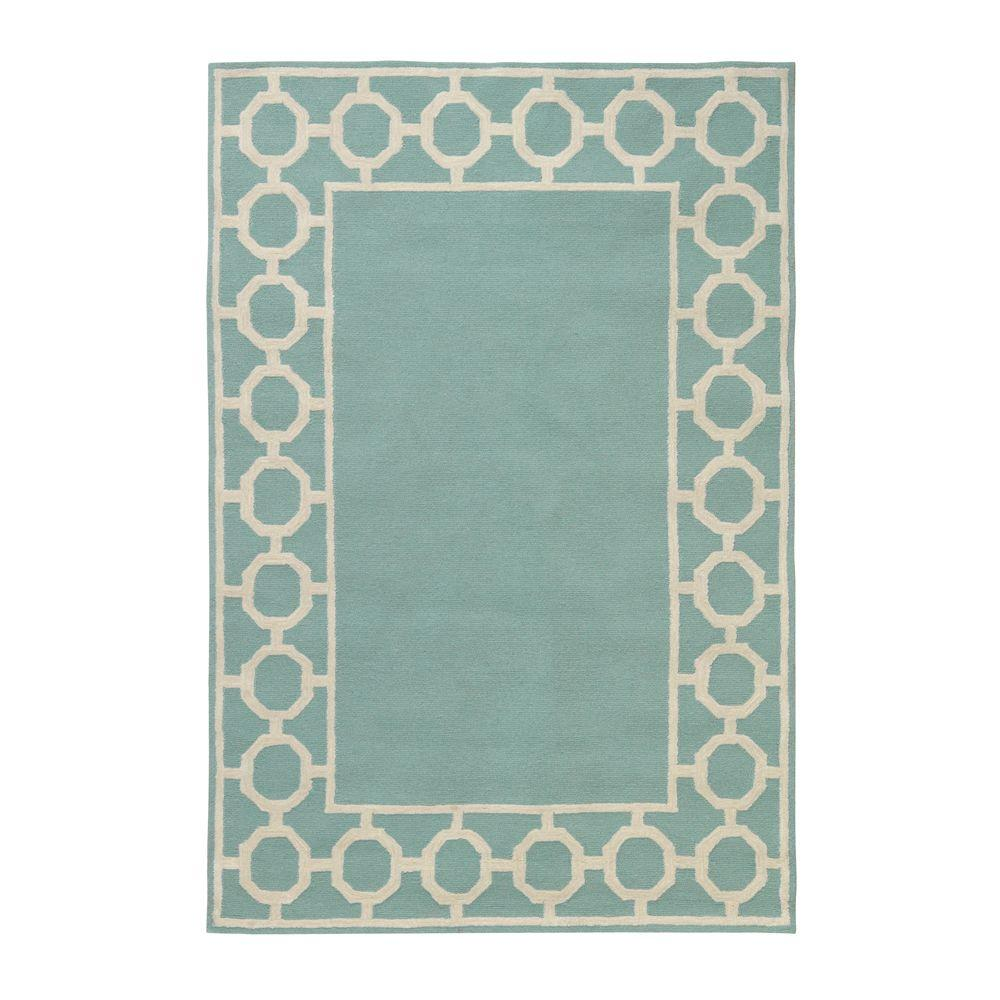 Home Decorators Collection Espana Border Aqua 3 ft. 6 in. x 5 ft. 6 in. Area Rug