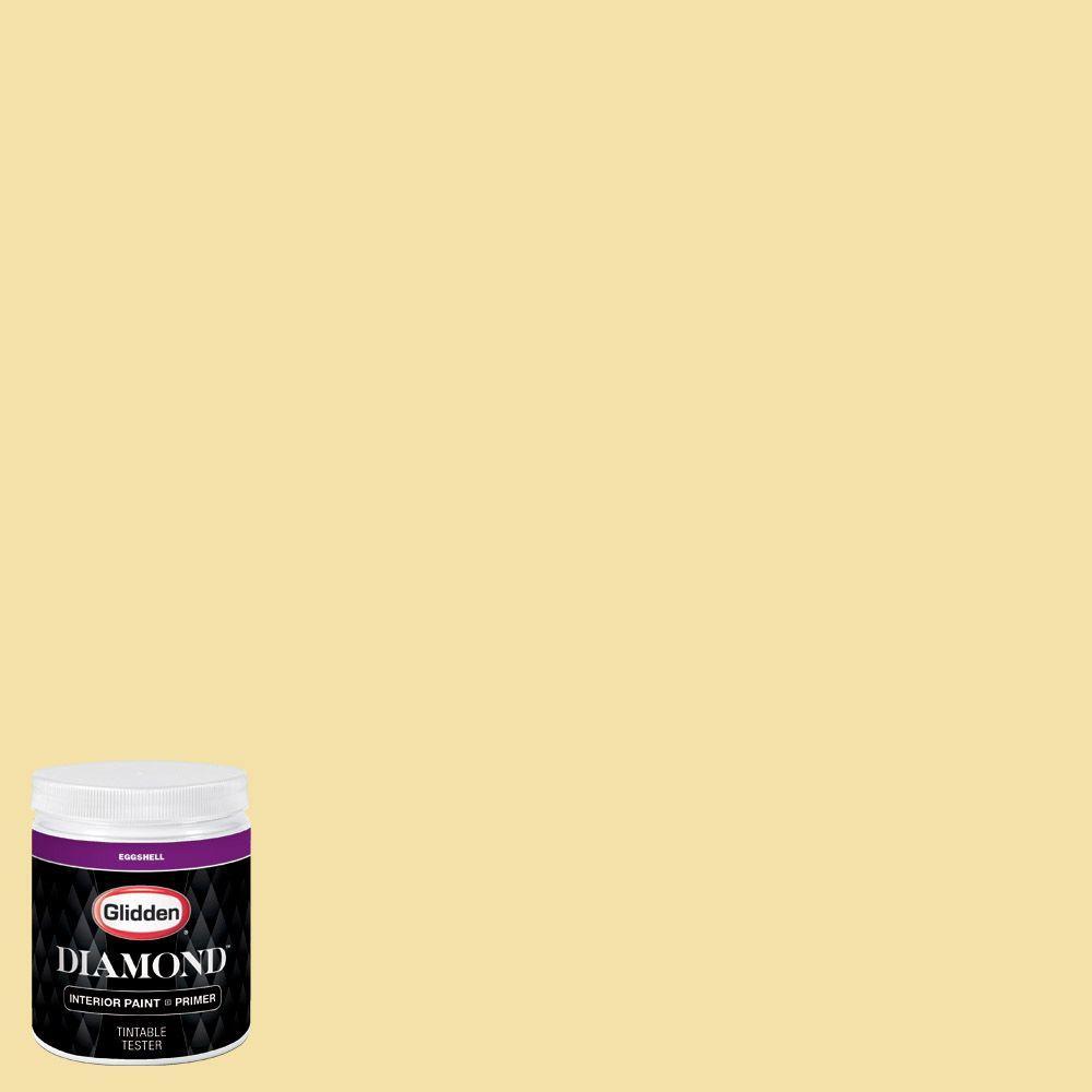 Glidden diamond 8 oz hdgy16d summer cottage yellow for Eggshell yellow paint