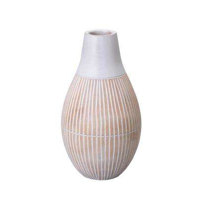 11 in. White Decorative Handmade Tear Drop Bottle Mango Wood Vase