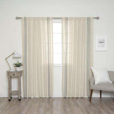 84 in. L Linen Blend Ivory Curtain Panels with Blue Stripes (2-Pack)
