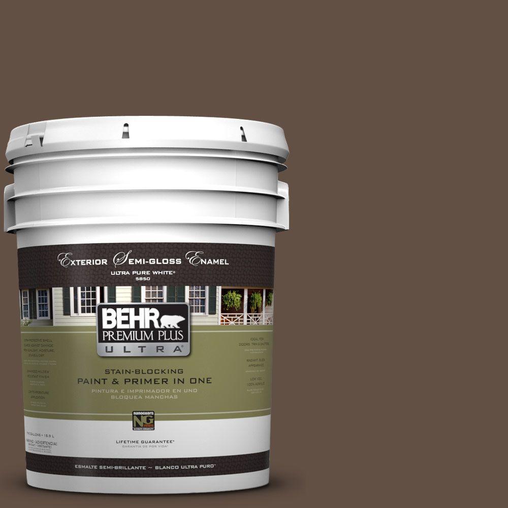 BEHR Premium Plus Ultra 5-gal. #UL170-1 Pine Cone Semi-Gloss Enamel Exterior Paint
