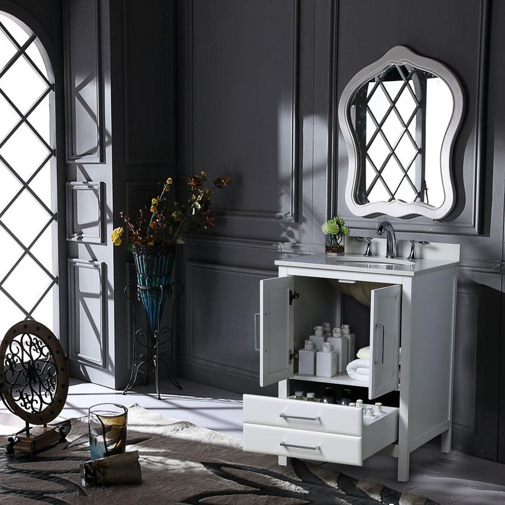 Vanity Art Rochefort 30 in. W x 22 in. D x 35 in. H Bath Vanity in White with Vanity Top in White Cultured Marble with White Basin was $641.0 now $448.7 (30.0% off)