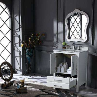 Rochefort 30 in. W x 22 in. D x 35 in. H Bath Vanity in White with Vanity Top in White Cultured Marble with White Basin