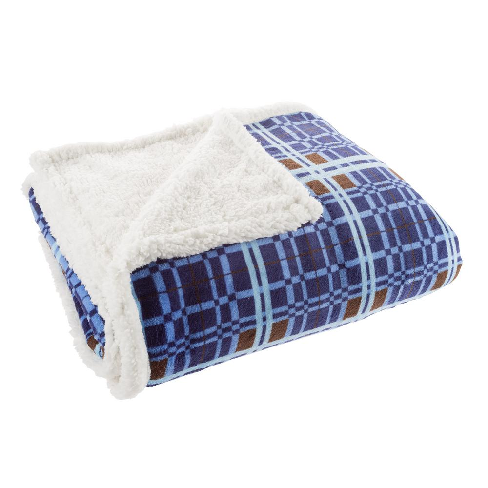 60 in. x 70 in. Blue and Brown Plaid Plush Sherpa