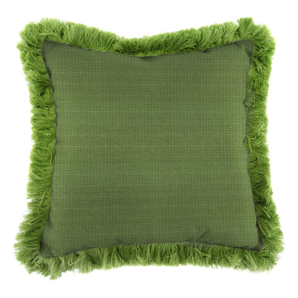 Sunbrella Surge Cilantro Square Outdoor Throw Pillow with Gingko Fringe